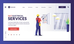 Electrician repairs electricity or installs fuse. Engineer makes house repair works. Vector flat cartoon worker character illustration. Home repair, maintenance and electric works services concept