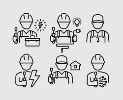 Electrician Technician Engineer Avatar Vector Line Icons
