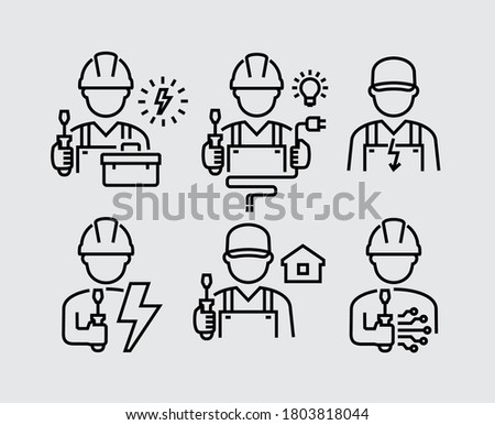 Electrician Technician Engineer Avatar Vector Line Icons