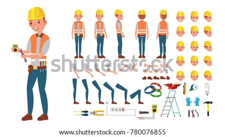 Electrician Vector. Animated Character Creation Set. Electronic Tools And Equipment. Full Length, Front, Side, Back View, Accessories, Poses, Face Emotion, Gestures. Isolated Flat Cartoon Illustration