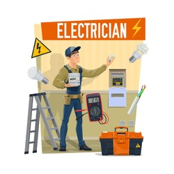 Electrician with equipment, toolbox and work tools. Cartoon vector worker or lineman electrician in uniform hold electricity meter with wire, light bulbs, multimeter, sockets and warning sign
