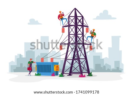 Electrician Workers Characters with Tools, Equipment Electric Transmission Tower Maintenance. Energy Station Powerline in City. Telephone or Electricity Line Poles. Cartoon People Vector Illustration Stockfoto ©