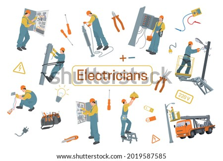 Electricians flat design concept with screwdriver tester tongs battery icons and electrical workers vector illustration ストックフォト ©