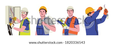 Electricians have the responsibility to repair everything related to electricity to check the bills. When on duty, they use standard equipment to keep it safe. stock photo