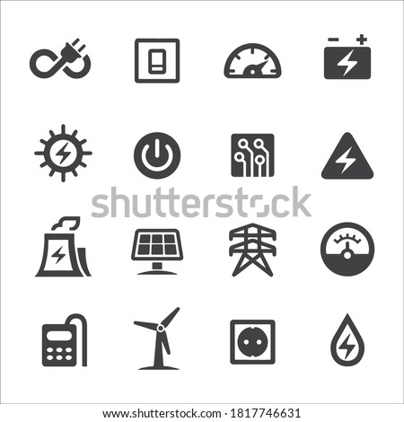 Electricity and Power Icon stock illustration. Fuel and Power Generation, Electricity, Power Line, Electricity Pylon, Power Cable, Light Switch, Electric Plug, Push Button, Battery Photo stock ©