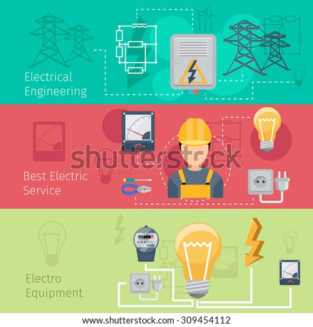 Electricity and power industry horizontal banners vector set. Cablec and energy, engineering plug, voltage and socket illustration