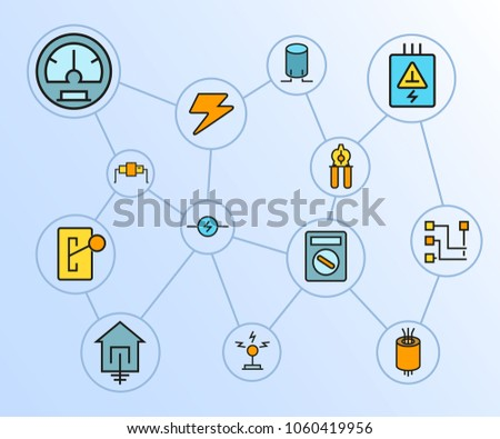 electricity and tools network diagram in blue background