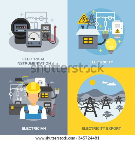 Electricity concept icons set with electricity export symbols flat isolated vector illustration