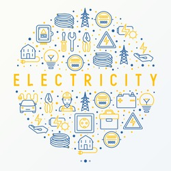 Electricity concept in circle with thin line icons: electrician, bulb, pylon, toolbox, cable, electric car, hand, solar battery. Vector illustration for banner, web page, print media.