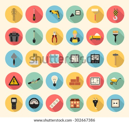 Electricity, construction, building, tools and repair vector flat style icons set