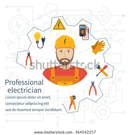 Electricity design concept. Professional electrician. Electricity service. Maintenance and repair of electrical circuits. Icons and security instrument. Flat vector illustration