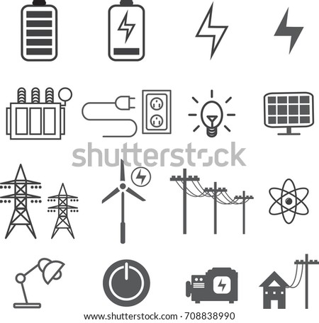 electricity  electric icon set