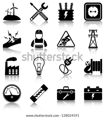 Electricity - 16 electricity related icons/ silhouettes.