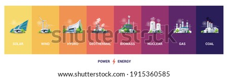 Electricity generation source types. Energy mix solar, water, fossil, wind, nuclear, coal, gas, geothermal and biomass. Renewable power plants station resources. Natural, thermal, hydro and chemical. Foto stock ©