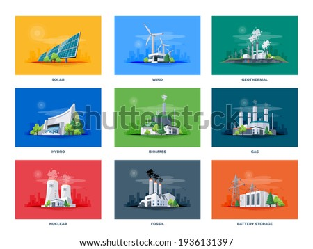 Electricity generation source types. Energy mix solar, water, fossil, wind, nuclear, coal, gas, biomass, geothermal and battery storage. Natural renewable pollution power plants station resources. Сток-фото ©
