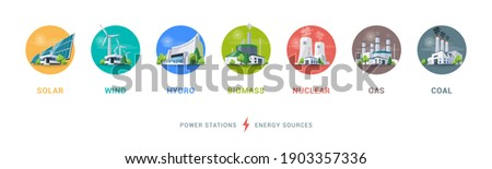 Electricity generation source types. Energy mix solar, water, fossil, wind, nuclear, coal, gas and biomass. Renewable pollution power plants station resources. Natural, thermal, hydro and chemical. Foto d'archivio ©
