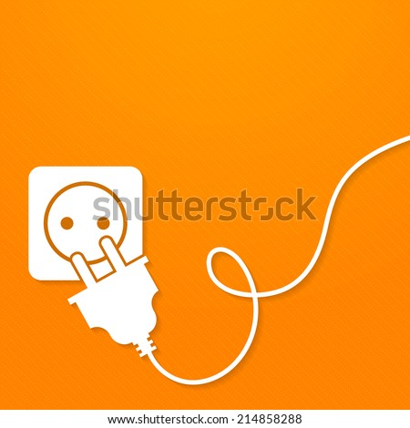 Electricity icon flat with plug and socket on orange background vector illustration