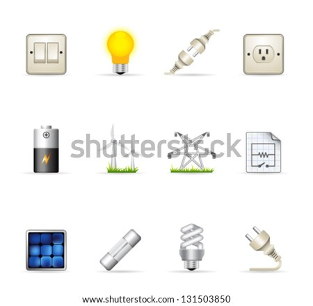 Electricity icons in colors