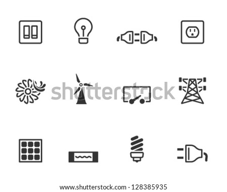 Electricity icons in single colors