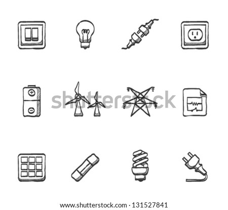 Electricity icons in sketches