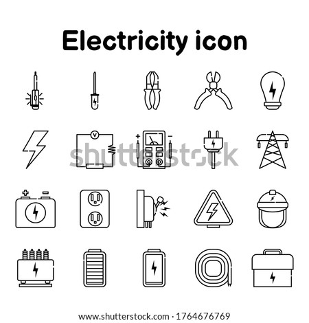 Electricity icons On a white background, vector, Relating to electric  metering and wiring current illustration  Stockfoto ©
