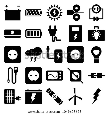 Electricity icons. set of 25 editable filled electricity icons such as mill, plug socket, flash, no plug, bulb heart, wire, ful battery, air conditioner, battery, thunderstorm