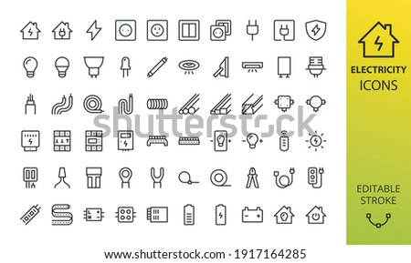Electricity isolated icon set. Set of home electrification, electrical wire and cable, lightbulb, led lamp, electricity meter, junction box, outlet and switch, extension cord, power strip vector icons Stockfoto ©