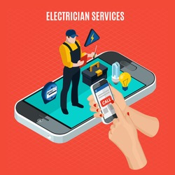 Electricity isometric red composition with electrician services description and call a professional electrician via smartphone vector illustration