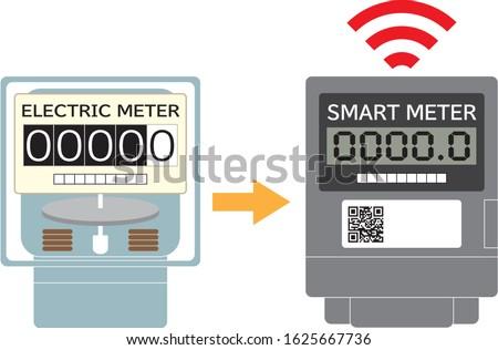 Electricity meter smart meter introduction icon illustration vector Smart meter is electric meter