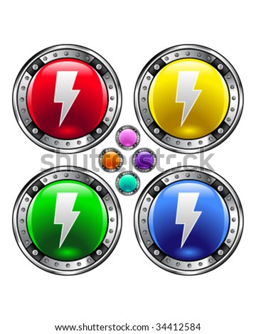 Electricity or lightning bolt icon on round colorful vector buttons suitable for use on websites, in print materials or in advertisements.  Set includes red, yellow, green, and blue versions.