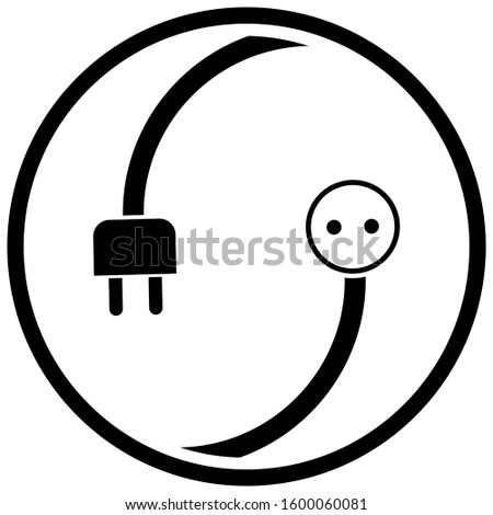 Electricity plug and electricity outlet, electrician logo