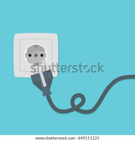 Electricity plug and socket on orange background. Vector illustration in flat style