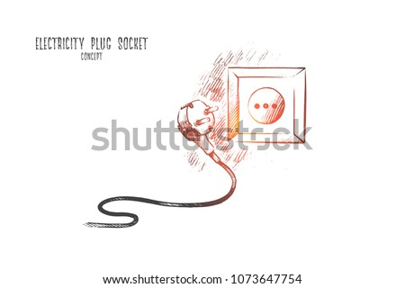 Electricity plug socket concept. Hand drawn electric socket and plug. Plug with cable isolated vector illustration.