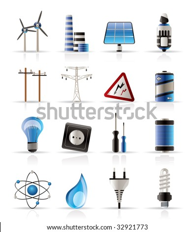 Electricity power and energy icons vector icon set