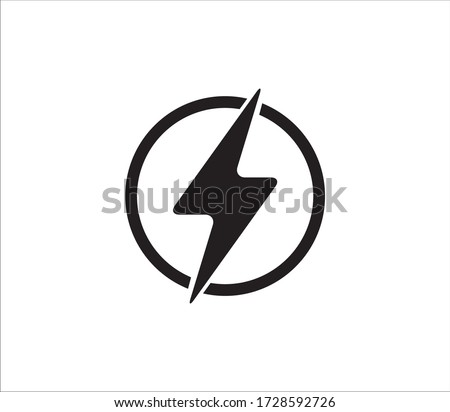 electricity power symbol or icon vector design template, high voltage electric shock danger sign illustration Foto stock ©
