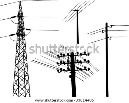 electricity towers silhouette