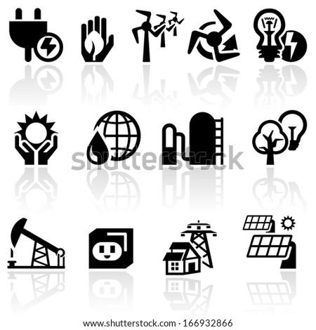 electricity vector icon set