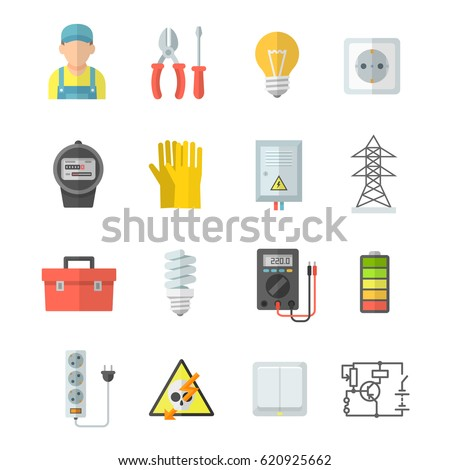 Electricity vector icons. Electrical equipment: voltmeter, screwdriver, pliers, gloves. Home electrical accessories: lamp, socket, meter, electric guard, switch. Icons strength, voltage and energy.