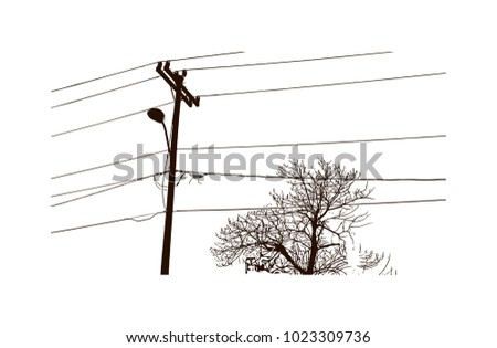 electricity wire with pole of
