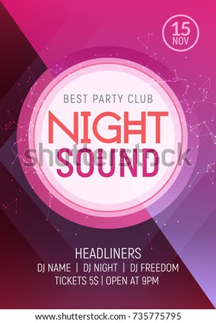 Electro dance party music night poster template. Electro style concert disco club party event invitation.