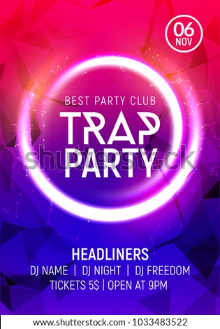 Electro dance trap party music night poster template. Electro style concert disco club party event invitation.