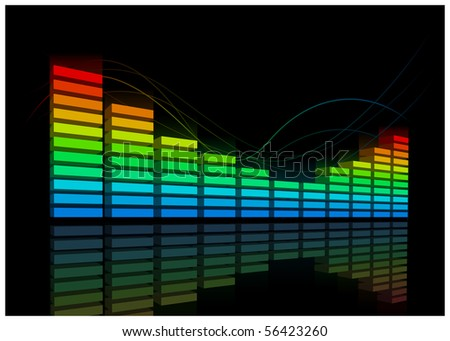Electro Equalizer. Vector music background. Elements are layered separately. - stock vector