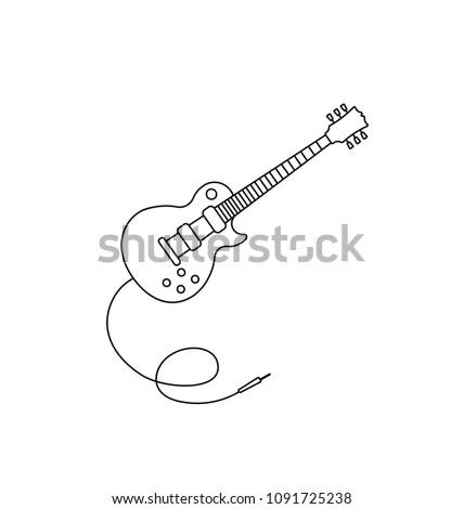 electro guitar icon outline