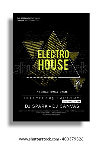 Electro House, Musical Party Template, Banner or Flyer design with date and time details.