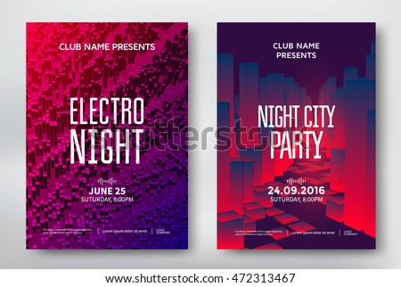 abstract club music party flyer template design download free