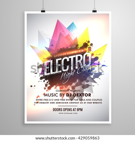 electro night club music party flyer template