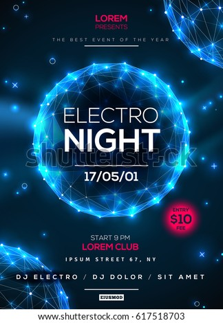 Electro night dance party poster template with blue shining polygonal elements on dark background. Vector illustration.