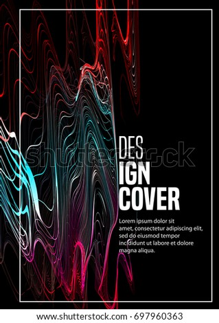 Electro night party poster design. Abstract modern futuristic line background on black. Minimal cover design layout for corporate flyer, book, booklet, brochure, poster, banner, leaflet. Vector