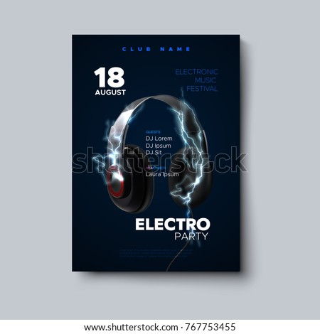 Electro party invitation poster. Electronic music festival flyer. Vector illustration of headphones with electric energy charge.