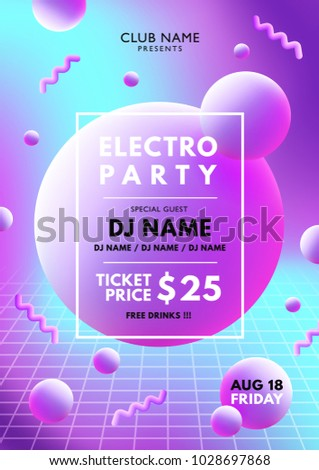 electro party pink   blue flyer